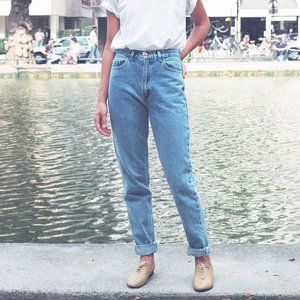 American Apparel  Marble Wash High-Waist Jeans